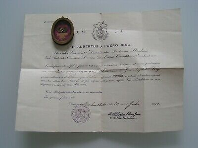Antique 1931 Large Reliquary Pendant Relic St. Therese of Lisieux COA Document