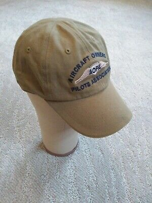 AOPA Aircraft Owners + Pilots Association Khaki Hat Ball Cap Adjustable Size