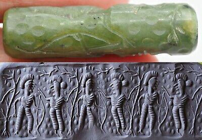 Ancient JADE cylinder seal intaglio Rolling Dancing Villager Ceremony OLD  bead