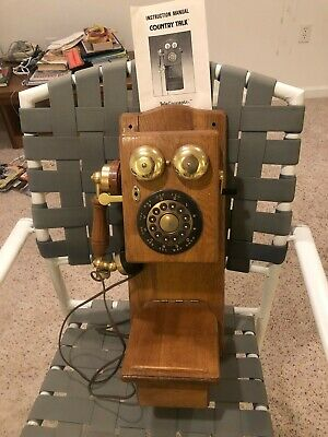Vintage Wood Wall Phone Antique Replica Spirit of St. Louis Country Talk