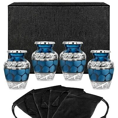 Heavenly Peace Dark Blue Small Keepsake Urn for Human Ashes - Set of 4 - w Case
