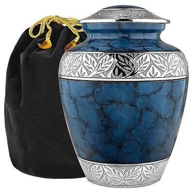 Heavenly Peace Lovely Dark Blue Adult Cremation Urn For Human Ashes -- w Bag
