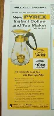 1957 PYREX Ware Instant COFFEE TEA Maker Carafe 22kt Gold Corning Glass PRINT Ad