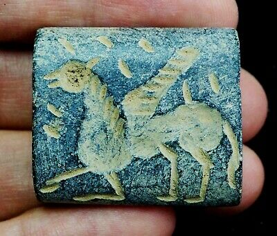 Antique Agate Mythical Greek Flying Horse Pegasus Intaglio Stone Seal bead