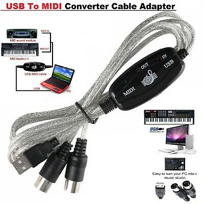 USB 2.0 Interface To MIDI IN OUT Converter Cable For PC/Laptop/Windows XP/Mac/OS
