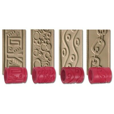 """AMACO 2-1/2-inch Textured Clay Roller 4 Pack  - 2-1/2"""" Wide Sleeves, 4-Count"""