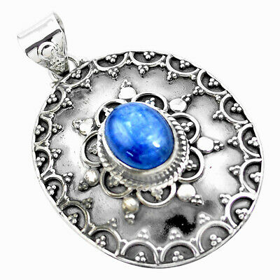 925 Sterling Silver 5.08cts Natural Blue Kyanite Oval Pendant Jewelry P24703