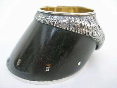 Outstanding Victorian Silver Mounted Horn Salt In The Form of A Horses Hoof.