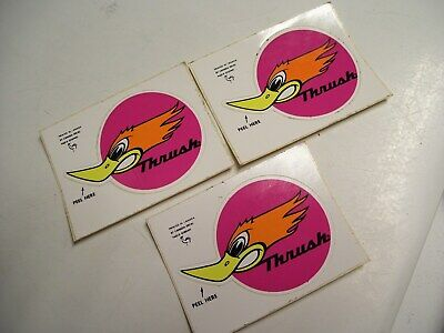 Three NOS Vintage 1970's 70's Thrush Exhaust Muffler Stickers Hot Rod Rat Rod