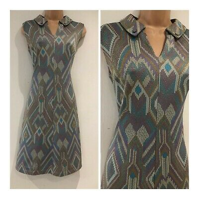 Vintage 60's Mod Grey Blue & Gold Diamond Pattern Sleeveless Shift Dress 12
