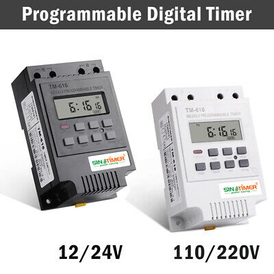 Programmable Digital Timer Switch Time Relay Control 12-220V DC Din Rail Mount