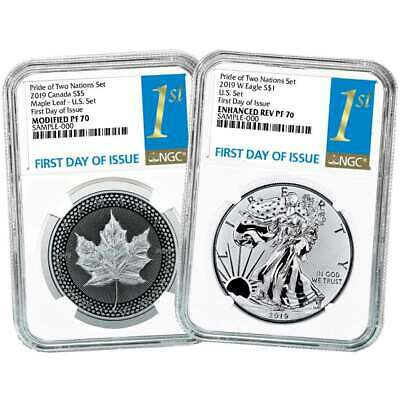 2019 Pride of Two Nations 2pc. Set U.S. Set NGC PF70 FDI First Label