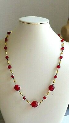 Czech Vintage Art Deco Red Faceted And Gilded Glass Bead Necklace