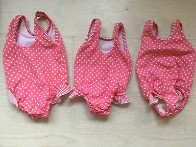 3 x MARKS & SPENCER SWIMMING COSTUMES WITH BUILT-IN NAPPY, AGE 6-9 / 9-12 MONTHS