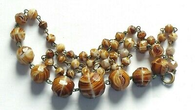 Czech Vintage Art Deco Wired Swirled Faceted Glass Bead Necklace Signed