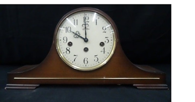 German Made Mantel Clock Germany Linden vintage wooden brass gears european rare