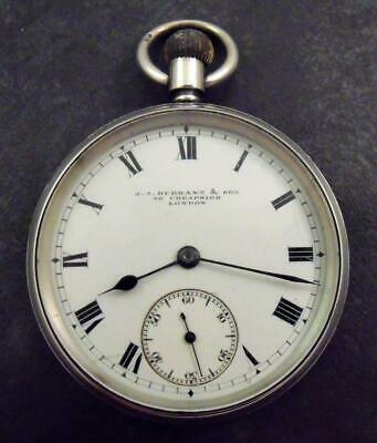 Antique Edwardian Solid Sterling Silver Fob Pocket Watch J J Durrant Cheapside