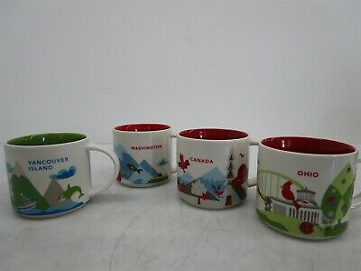 Lot 4 Starbucks 14oz Mug YOU ARE HERE Collection Ohio Canada Vancouver
