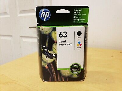 2-PACK HP GENUINE 63 Black & Tri-Color Ink X4E32AN EXP 02/2021