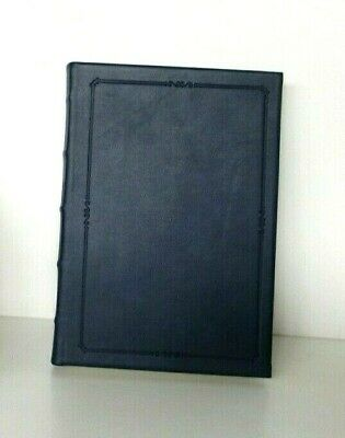 """Writing Journal 5x8"""" Leather Hard Cover Lined Pages w Archival Paper Navy Blue"""
