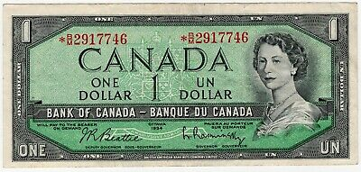 1954 Bank Of Canada One 1 Dollar Replacement Bank Note *Bm 2917746 Nice Bill