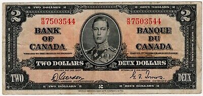 1937 Bank Of Canada Two 2 Dollar Bank Note Rb 7503544 Nice Bill