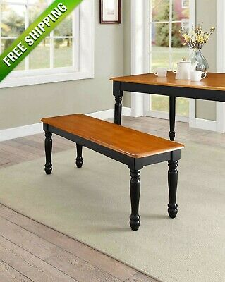 Better Homes and Gardens Autumn Lane Farmhouse Bench, Black and Natural Finish