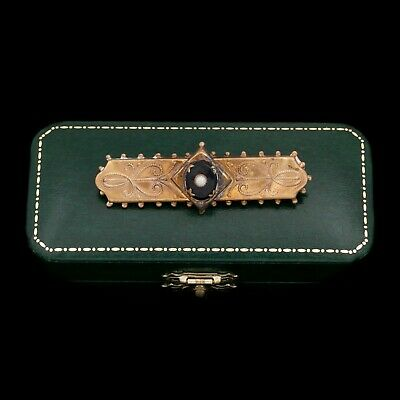 Antique Vintage Nouveau 14k Gold Filled GF Mourning Seed Pearl Onyx Pin Brooch