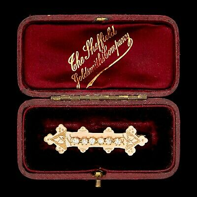 Antique Vintage Victorian 14k Gold Filled GF Faux Diamond Paste Bar Pin Brooch