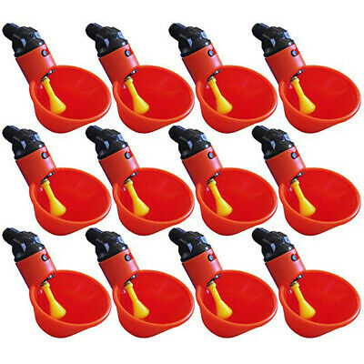 Automatic Feed Bird Coop Poultry Chicken Fowl Drinker Water Drinking Cups 12PCS