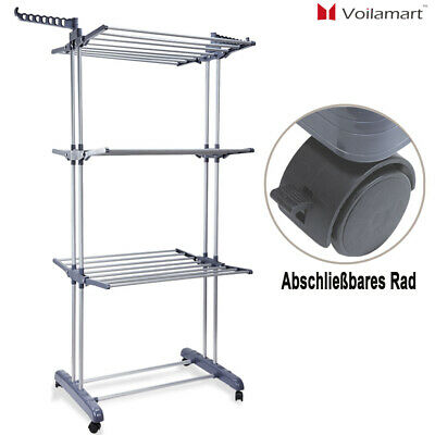 3 Tier Clothes Airer Dryer Rack Foldable Dry Rail Hanger Indoor Outdoor Laundry
