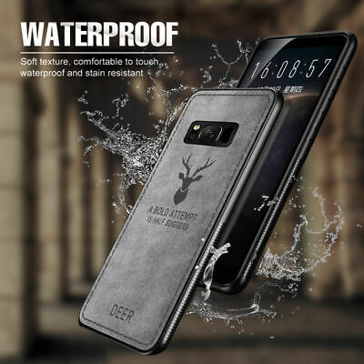 Luxury For Samsung Note 9 S9 S10 Deer Pattern Case Cloth Texture Soft TPU Cover