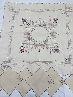 Pretty Vintage Cotton Hand Embroidered Tablecloth + Napkins