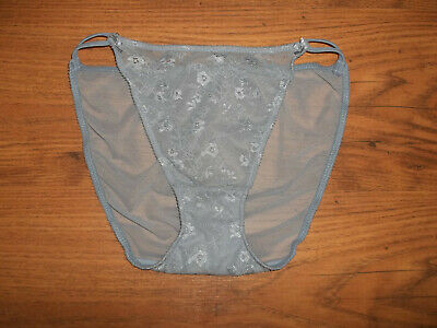 Vintage 1980s Stretchy Ultra Sheer Nylon Lacy Tanga Panty Knickers S/M