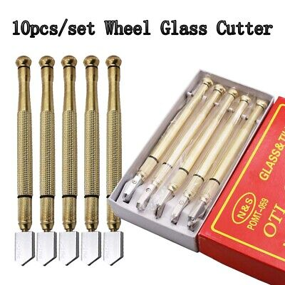 10x Diamond Tip Antislip Metal Handle Steel Blade Oil Feed Glass Cutter Cutting
