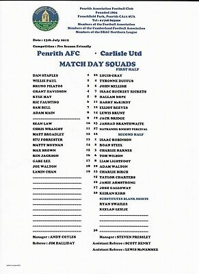 Penrith v Carlisle Team Sheet (No Programme) 13th July 2019 Friendly