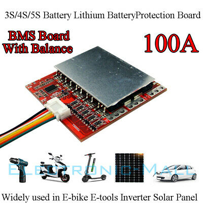 12V 16V 21V 3S 4S 5S 100A PCM BMS for 18650 26650 Li-ion LiPO battery W/ Balance