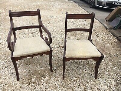 Regency style Dining Chairs. 6 Mahogany chairs including 2 carvers