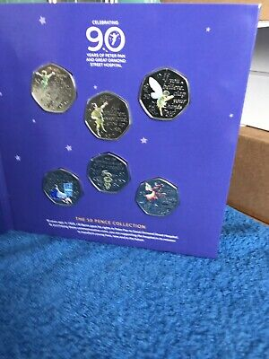 2019 The Peter Pan 50p Coin Set With Decals NEW BUNC IOM 50 p Coins.