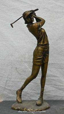"""22"""" Old Chinese Bronze Stand Belle Beauty Playing Golf Golfing Statue Sculpture"""