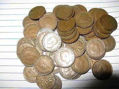 50 Random Canada Rare King George VI Pennies Lot #8