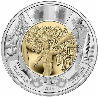 Canada $2 Coin Wwii Commemorative Wait For Me Daddy Heart Touching Coin!
