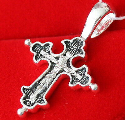 Siilver 925 Russian Body Crucifix Save and Protect Prayer New Orthodox Jewelry