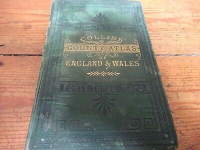 antique or vintage collins county atlas of maps of england and wales