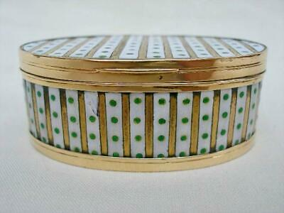Fine French High Carat Gold & Enamel Decorated Oval Snuff Box Dating Around 1800