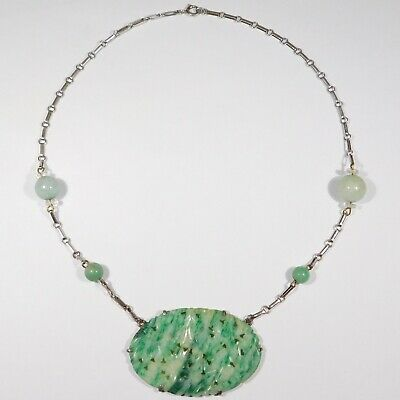 Sterling Art Deco Carved Jade Necklace Beautiful