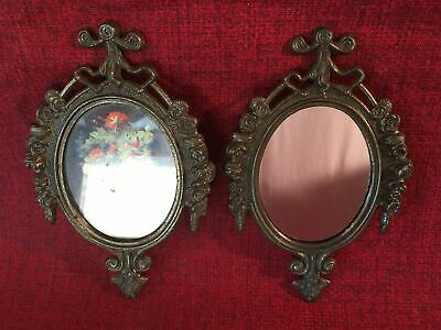 2 cast metal ornate florentine Victorian oval frames ITALY mirror floral picture