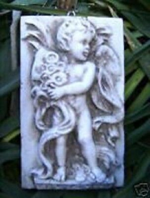 Angel plaque with flowers plastic mold concrete mold plaster mould