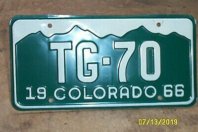 Vintage 1966 Colorado License Plate Low Number White/Green Tg-70 Nice!!--Lqqk