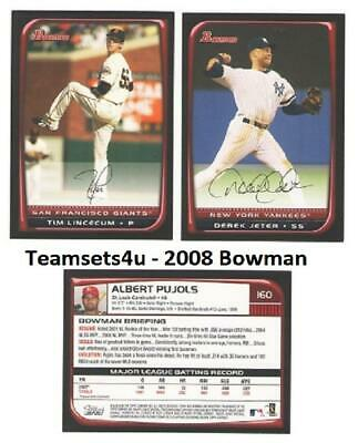 2008 Bowman Baseball Set ** Pick Your Team ** See Checklist in Description
